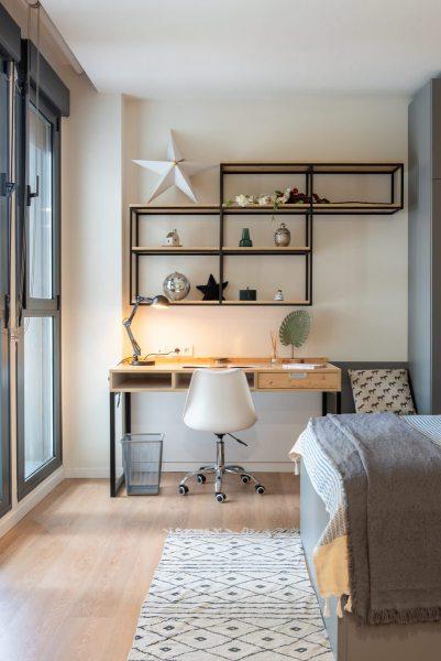 foto interiorismo habitación residencial universitaria youniq
